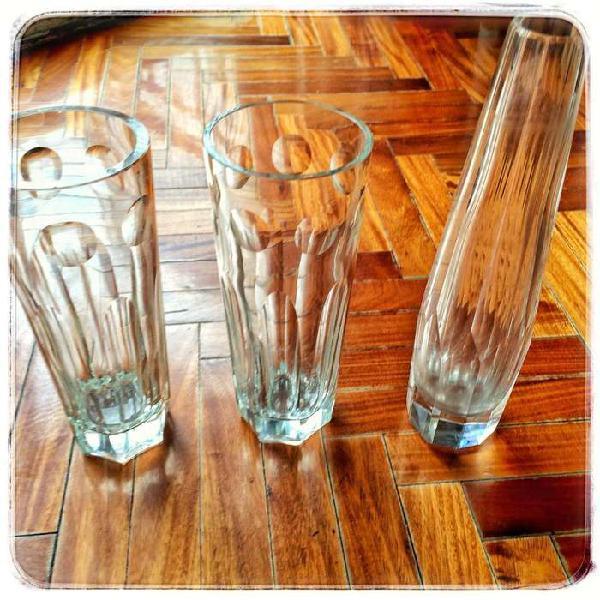tres floreros de vidrio tallado impecables oportunidad