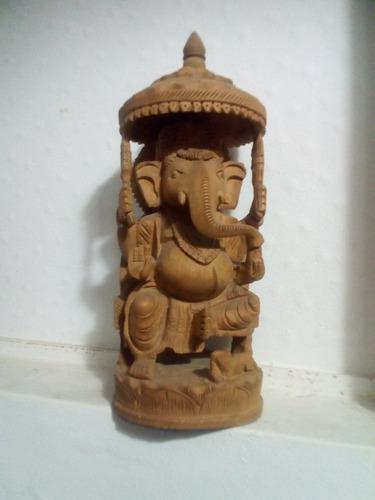 Ganesha Original De Sándalo Tallado A Mano Original De