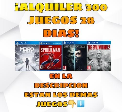 Alquiler 300 Juegos Ps4 28 Dias!!! Entrega Inmediata!