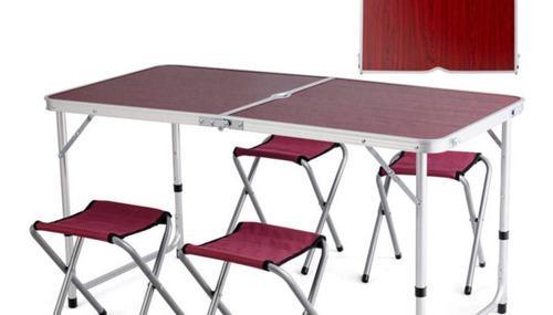 Mesa Camping Aluminio Plegable Con 4 Sillas - Rc