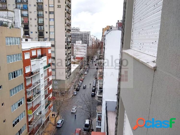 Departamento de dos ambientes con balcón saliente a la