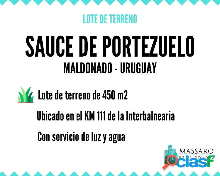 Lote de terreno de 450 m2 en Sauce de Portezuelo, Maldonado,