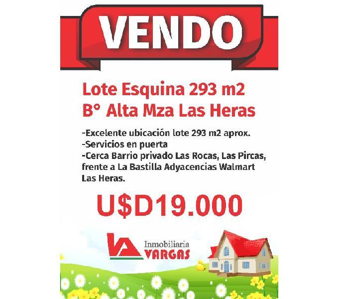 Vendo Lote Esquina 293 m2 B° Alta Mza Las Heras