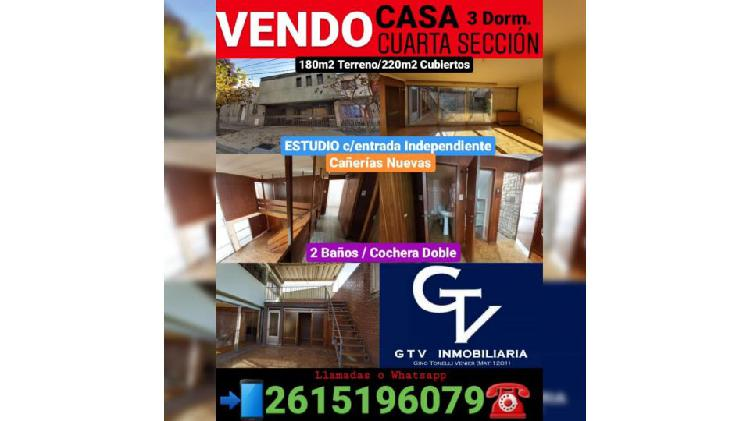 VENDO CASA - CUARTA SECCION, CIUDAD*** 3 Dorm./2 Baños