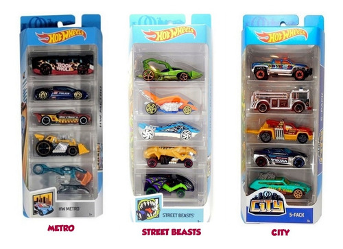 Pack X 5 Autos De Metal Hot Wheels Original Mattel
