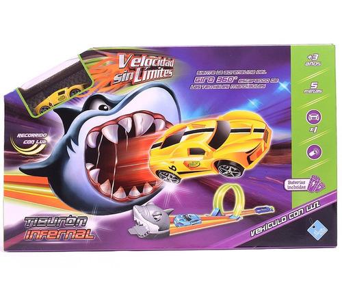 Pista De Autos Tiburon Con Giro 360 + Auto C/luz Duende Azul