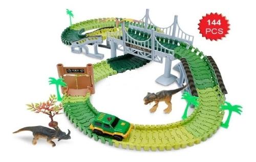 Pista Flexible 1 Auto Dinosaurio Track Cars Set Completo 144