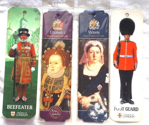 4 Señaladores Guardia Londres Beefeater + Reinas Inglaterra