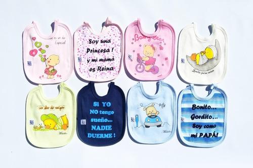 Pack X 3 Baberos De Algodón Frases Dibujos Surtidos Bebes
