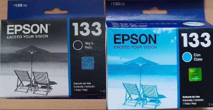 Cartuchos originales EPSON 133 x2 (1x NEGRO y 1x CIAN)