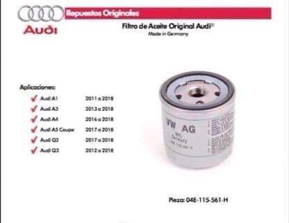 Filtro de aceite original audi / Volkswagen Pieza N* 04E 115