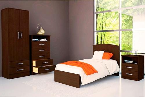 Juego Dormitorio Cama + Placard + Cajonera + Mesa Luz Cl03