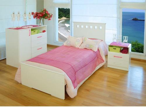 Juego Dormitorio Juvenil Cama + Comoda + Mesa De Luz Cl01