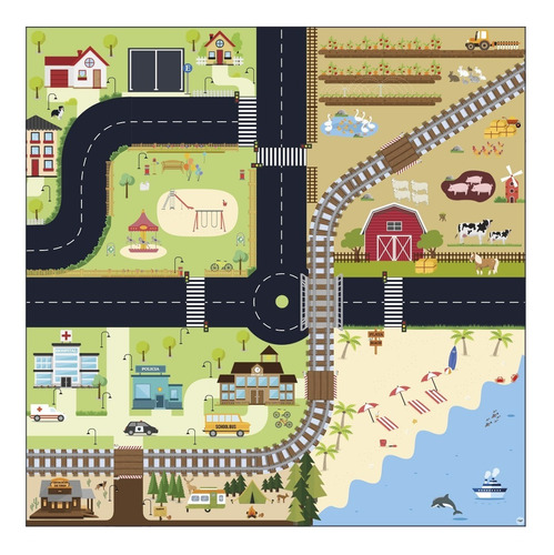 Pista De Autos Y Ciudad Lona Para Niños Playmat