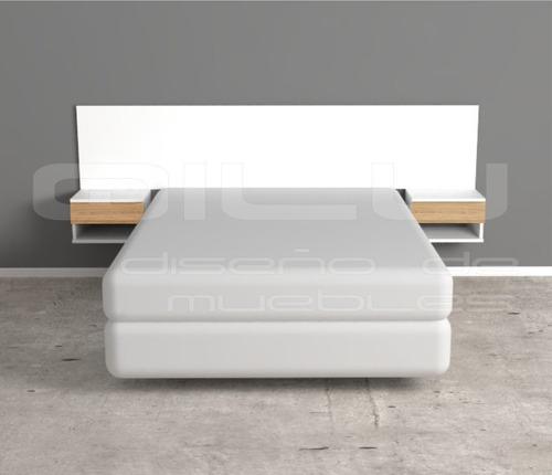 Respaldo Flotante Nordico+mesas D Luz. Diseño Minimalista