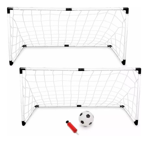 2 Arcos De Futbol Infantil 120cm+pelota+inflador Juguete
