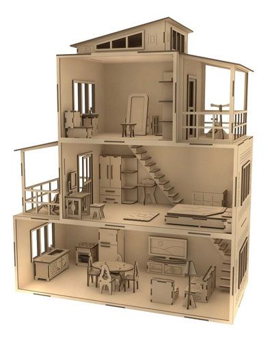 Casa Para Armar Muñecas + 31 Muebles Fibrofácil Para
