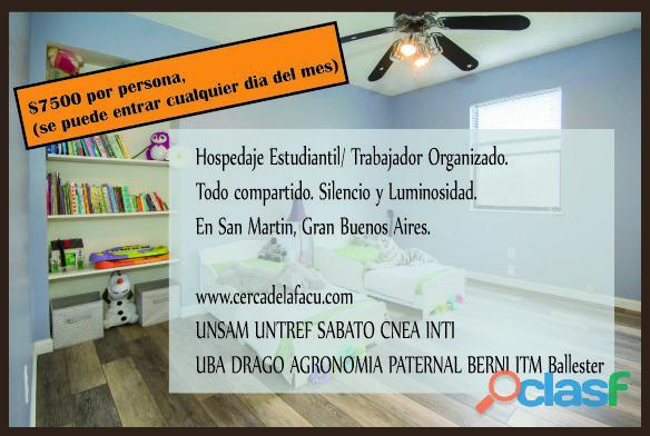 Habitacion compartida en San Martin Buenos Aires. Hospedaje