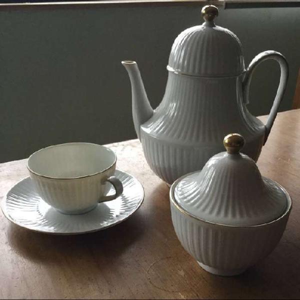 Juego de té de porcelana Tsuji blanco con borde dorado